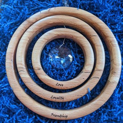 This Personalised Suncatcher is made from beech wood and asfour crystals