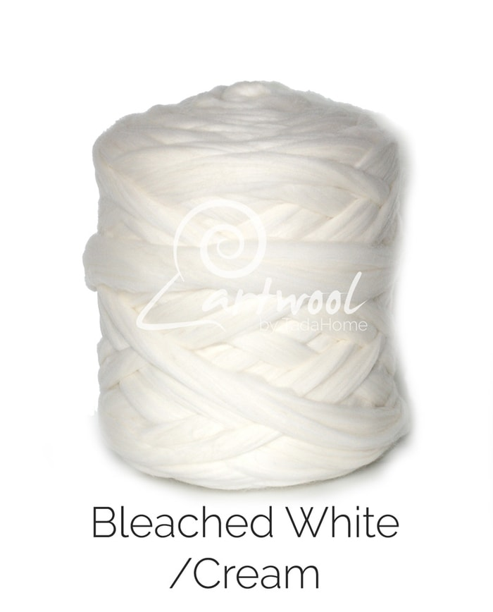 bleached white cream Merino Wool Chunky Yarn