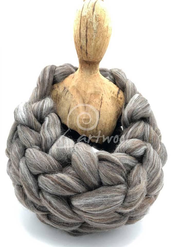Brown Melange Merino Wool Chunky Infinity Scarf