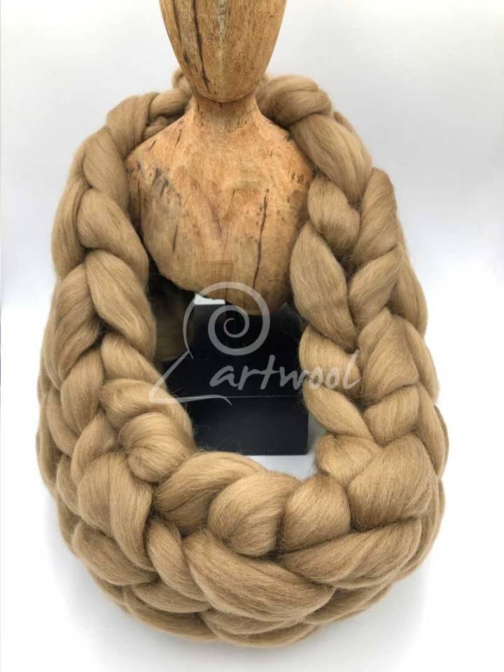 Camel Merino Wool Chunky Infinity Scarf