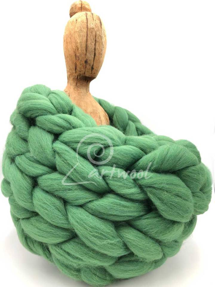 Green Grass Merino Wool Chunky Infinity Scarf