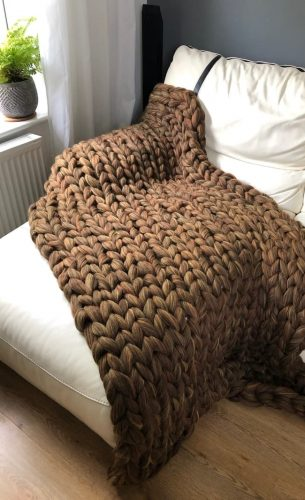 Brown Yellow Melange - Blanket 100% Merino Wool Super Chunky Knit Blanket Yarn / Throw