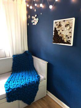 Sapphire Turquoise Melange - Blanket 100% Merino Wool Super Chunky Knit Blanket