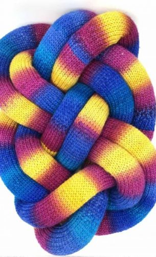 Large Knot Cushion in Blue, Yellow and Pink Melange (Rainbow) with natural wool filling