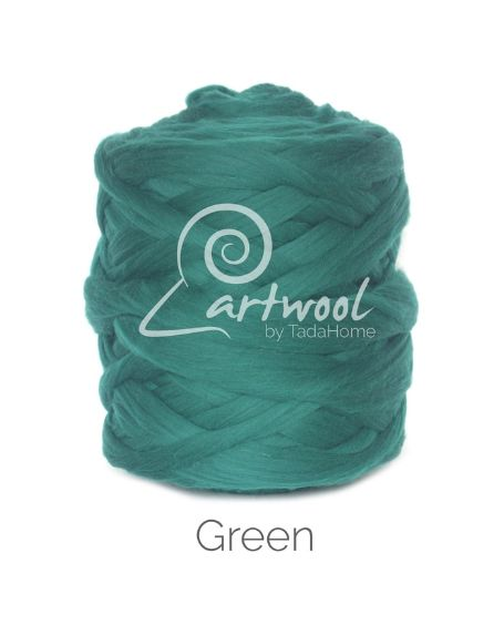 Green 100% Merino Yarn Wool Giant Chunky Extreme Big Arm Knitting 1 kg