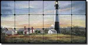 davenport nautical lighthouse tumbled marble tile mural 24 x 12 pov wda003 artwork on tile fine art tile murals and accents