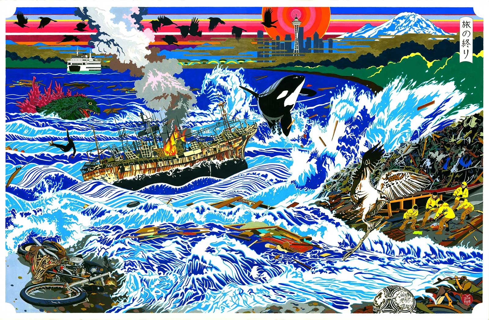 painting of waves and debris landing on shore