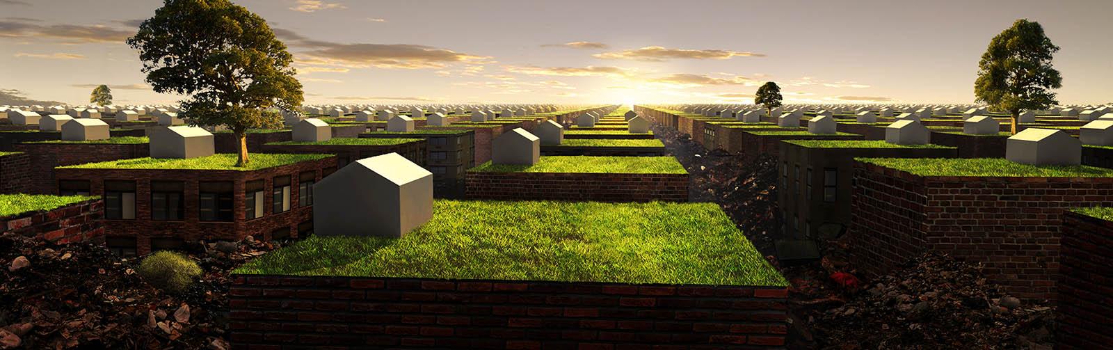 suburban houses extending into horizon