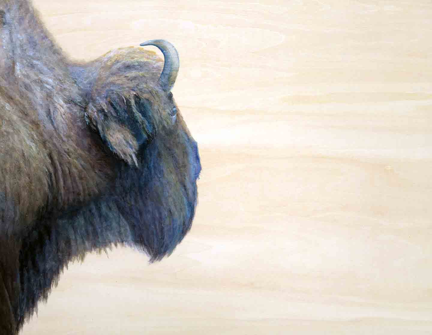 Painting of bison in profile by Shelby Prindaville, acrylic on wood
