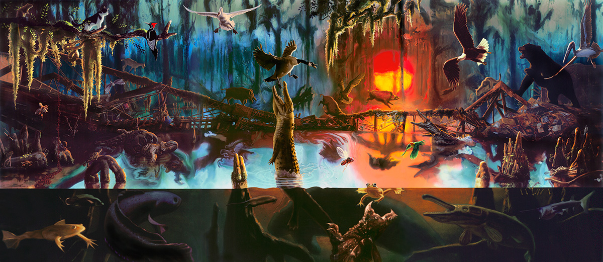 swamp scene full of wild animals