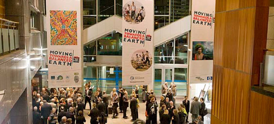 exhibition visitors crowded at opening reception