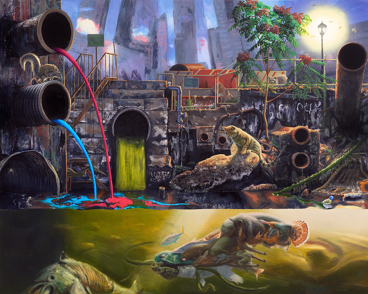 Painting of polluted Gowanus canal with strange creatures