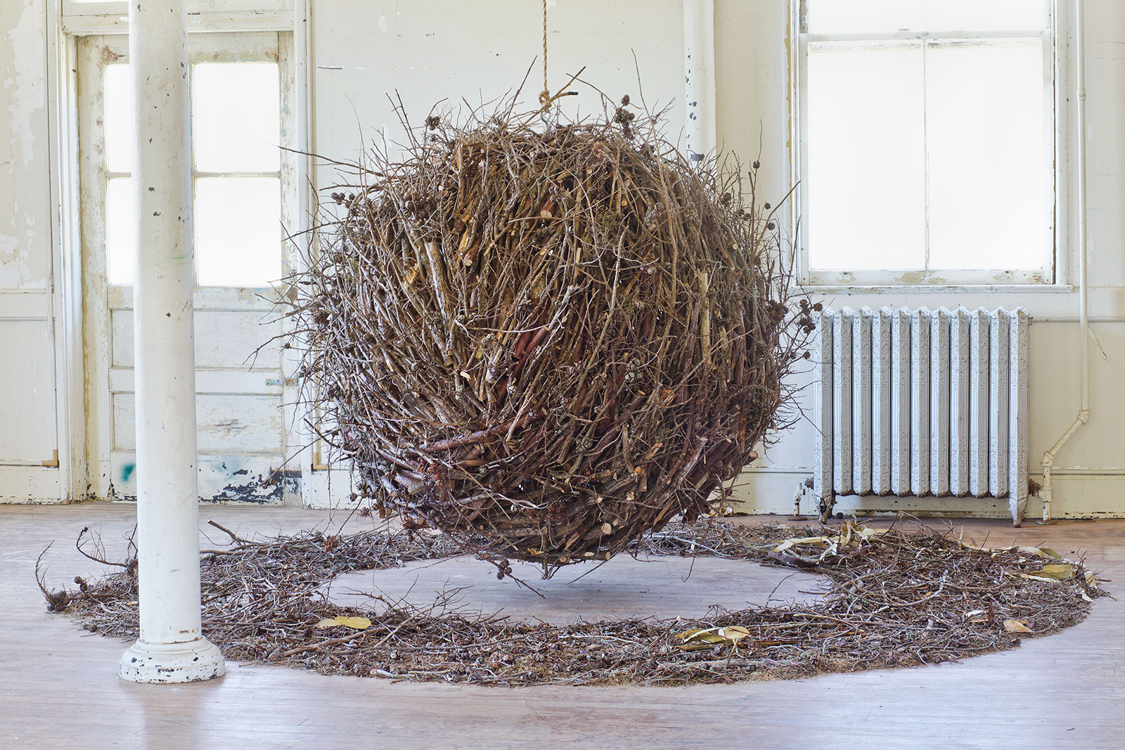 suspended ball of sticks