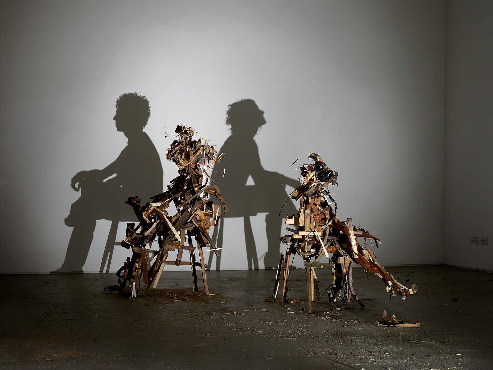 figurative shadow art from wood debris