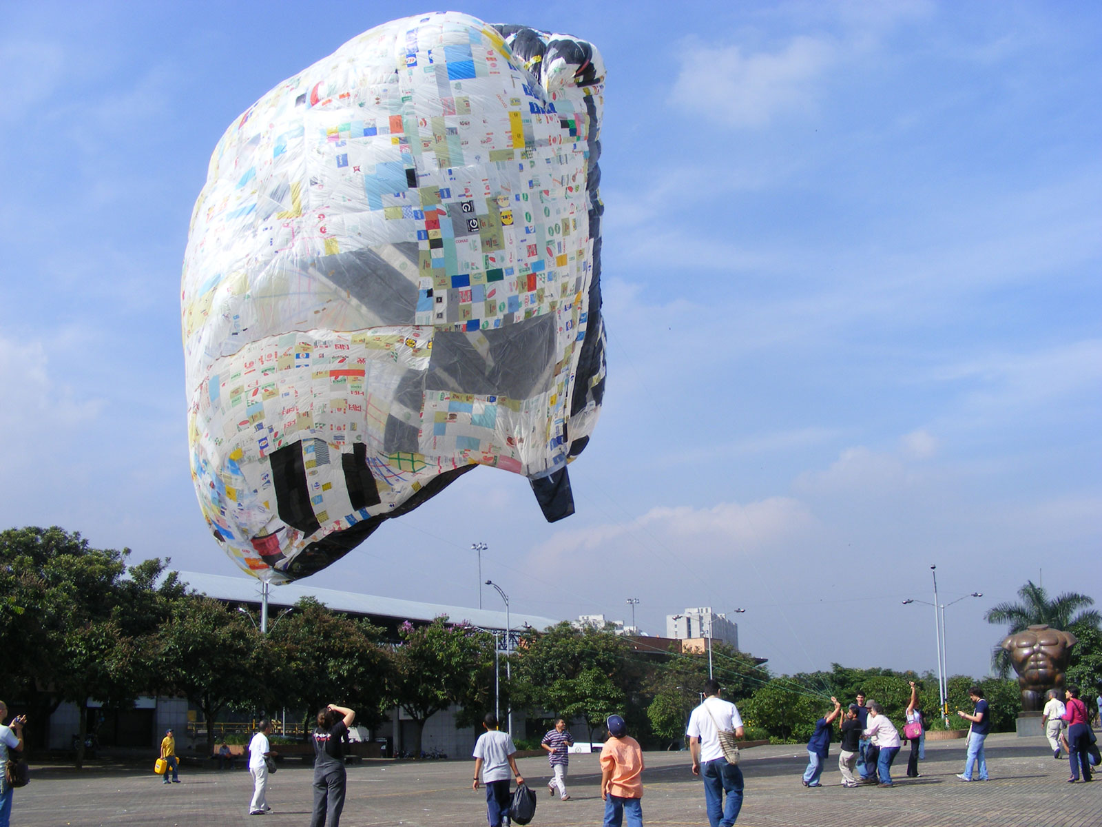 floating sculpture made from plastic bags