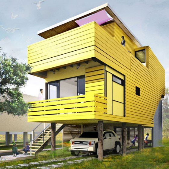 house elevated on stilts