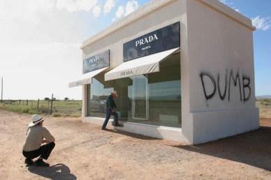 Prada Marfa first vandalism act