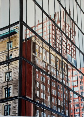 Pei Hancock Building and Reflection 3, watercolor on paper , 30 x 22 inches - Urban Architecture