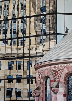 Pei Hancock Building and Reflection 1 , watercolor on paper , 30 x 22 inches - Urban Architecture