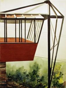 John Lautner's Jacobsen House, Los Angeles, CA 1948, 2012 , watercolor on paper , 30 x 22 - Urban Architecture