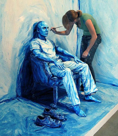 Blue Print Installation - Alexa Meade