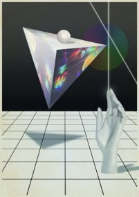Piramide flotando sobre manos de laser - Digital Collage 2013
