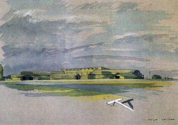 Hugh Casson, Camouflaged airfield, perspective, 1943 Victoria & Albert Museum, London, Archives of Sir Hugh Casson and Margaret MacDonald Casson, gift from the Casson daughters