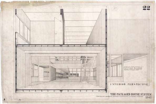 "Walter Gropius, Konrad Wachsmann The Packaged House System, section / perspective of ""fictitious building showing a variety of combinations composed of standard parts"", 1942 Akademie der Künste, Berlin, Konrad-Wachsmann-Archiv"