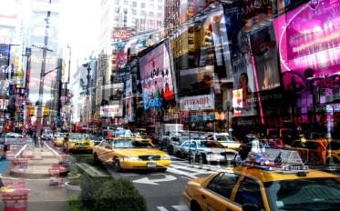 Davide Bramante - My own rave/Last New York (Disney Maxell), 2010 Tecnica fotografica delle esposizioni multiple in fase di ripresa, montaggio su plexiglass, 150 x 240 cm collezione Francesco Galvagno - Palermo