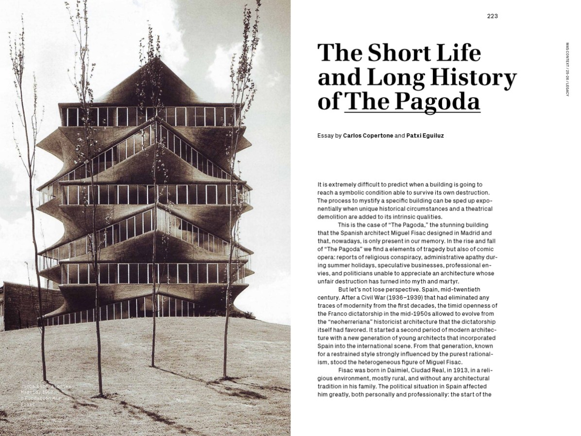 MAS Context Legacy spread. The Short Life and Long History of The Pagoda essay by Carlos Copertone and Patxi Eguiluz © MAS Context