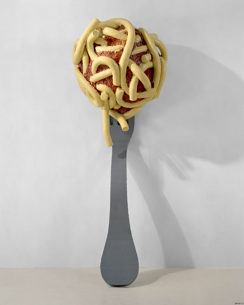 Claes Oldenburg and Coosje van Bruggen, Leaning Fork with Meatball and Spaghetti II