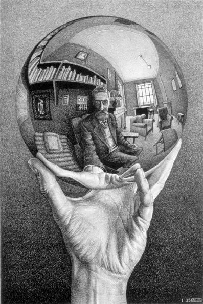M.C. Escher, Mano con sfera riflettente, 1935. Litografia, 318x213 mm.