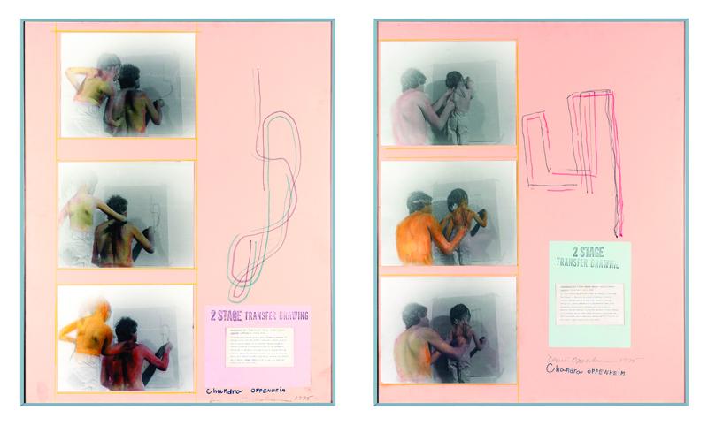 Dennis Oppenheim, 1938-2011, Two stage transfer drawing, 1975, Fotografia, disegno, foglio dattiloscritto su cartoncino, ed. unica, Collezione privata, Bassano del Grappa