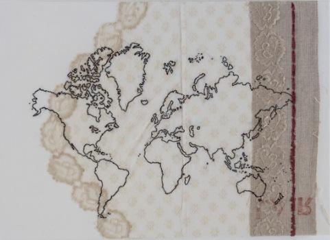 Cristina Volpi , Mappa nr. 2, 2015. Planisfero cucito su tessuti intelati. 50x70 cm