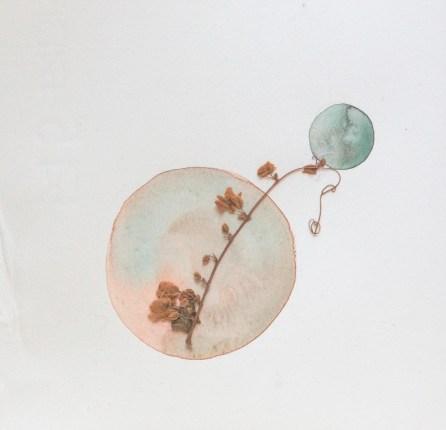 Cristina Volpi , Pianeti, 2016, acquerello e ramoscello essiccato, 17,5x17,5 cm