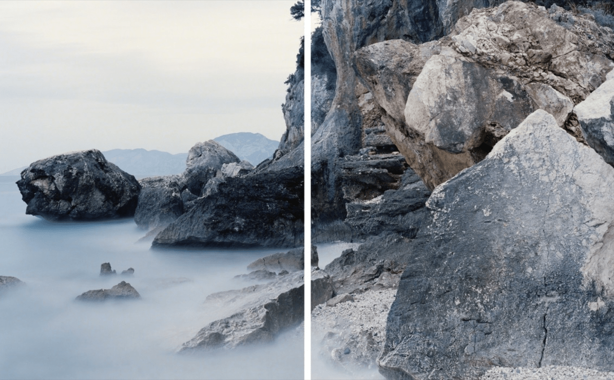View of the fossil tidal notch dating 12.000 YA and the present day Tidal notch in the Orosei Gulf, Sardinia. (Diptych), 2016 From the series An investigation of the laws observable in the composition, dissolution, and restoration of land © Fabio Barile