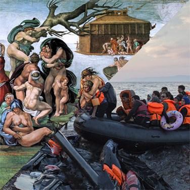 Michelangelo Buonarroti, The Deluge, Cappella Sistina, Roma, 1508-1512 VS Ivor Prickett, Syrian refugees arrive on the Greek Island of Lesvos, 2015 – © Davide Trabucco, Confórmi