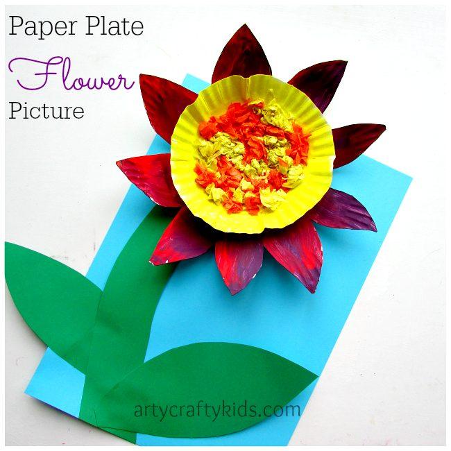 Paper plate flower mightylinksfo Choice Image