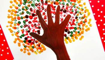 autumn handprint tree - Season Pictures To Colour