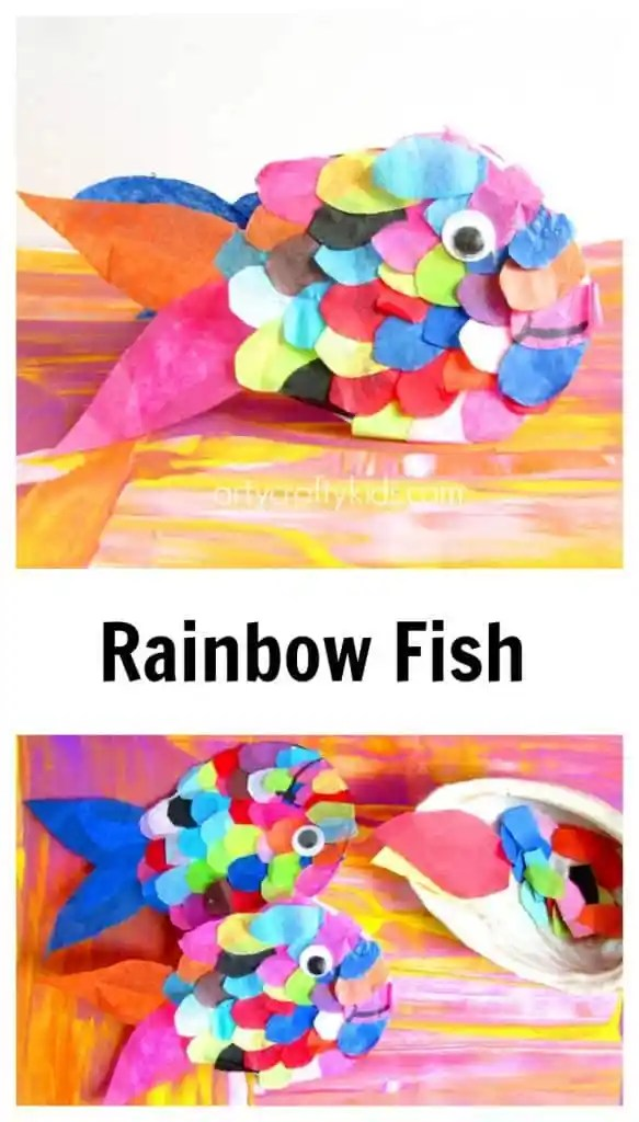 Arty Crafty Kids - Craft - Craft Ideas for Kids - Tissue Paper Rainbow Fish