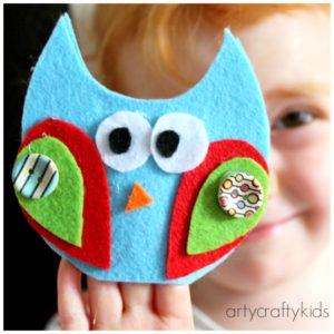Arty Crafty Kids - Craft - Craft Ideas for Kids - No Sew Felt Owl Finger Puppets