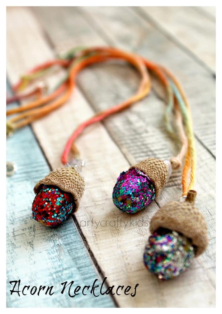 Acorn Necklaces Kids Nature Craft Arty Crafty Kids