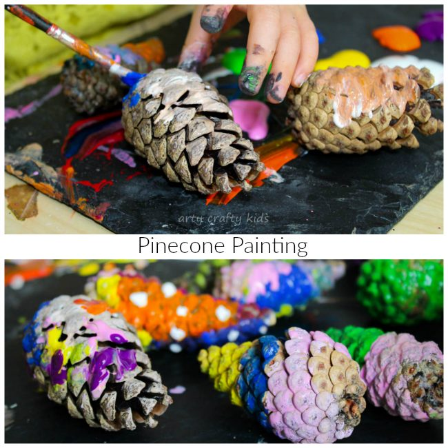 Arty Crafty Kids - Art - Easy Kids Art - Pinecone Painting Kids Nature Art