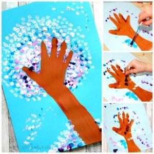 Arty Crafty Kids - Art - Art Projects for Kids - Winter Handprint Tree