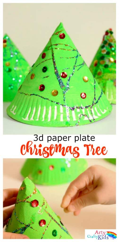 easy christmas crafts 3d paper plate tree craft 1925
