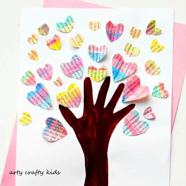 Handprint Valentine Heart Tree Arty Crafty Kids