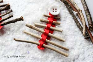 Arty Crafty Kids   Seasonal   Christmas Nature Craft   Rustic Twig Christmas Tree Ornament    Our rustic Twig Christmas Tree Ornament is kid-made and inspired by Julia Donaldson's Stick Man. An easy Christmas craft for kids, that's great fine motor practice.