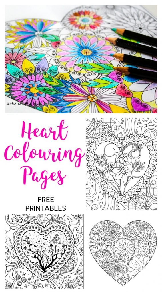 Arty Crafty Kids   Colouring Pages   Hearts   Heart Coloring Pages   Free Heart coloring pages for adults and kids! Color to your hearts content with these gorgeous, detailed designs. As a fun added extra, our coloring pages can be downloaded as a foldable card - perfect for Valentine's Day!