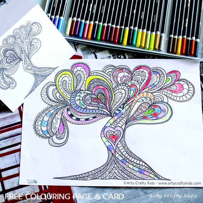 Arty Crafty Kids | Coloring Page | Valentines Love Tree | Beautiful Valentines Tree of Love Coloring Page for adults, filled with detailed flowing hearts