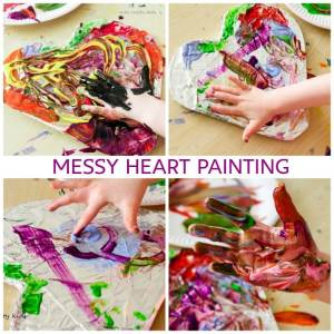 Arty Crafty Kids | Art | Messy Heart Painting | An amazing hands-on sensory art session for kids to explore texture and colour mixing. Super fun and easy art ideafor kids, with a set-up tine of less than 5 minutes!